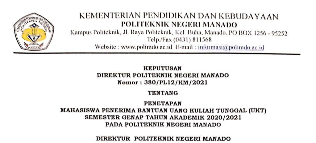 PENETAPAN PENERIMA BANTUAN UANG KULIAH TUNGGAL (UKT) SEMESTER GENAP TA 2020/2021