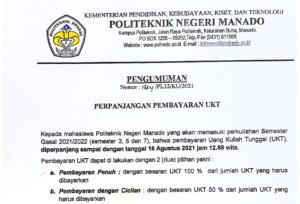 Perpanjangan Pembayaran UKT Politeknik Negeri Manado Perkuliahan Semester Ganjil 2021 -2022 (Semester 3, 5 dan 7)