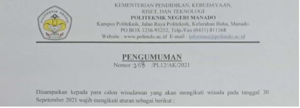 Pengumuman Disampaikan Kepada Para calon Wisudawan yang akan mengikuti wisuda 30 September 2021
